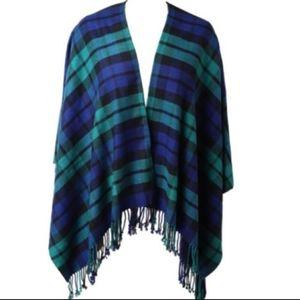Blanket Scarf Navy Tassel Poncho